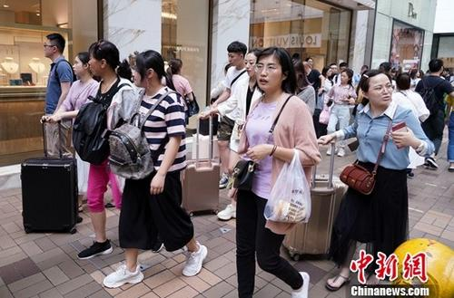资料图:众多游客在尖沙咀购物。中新社记者 张炜 摄