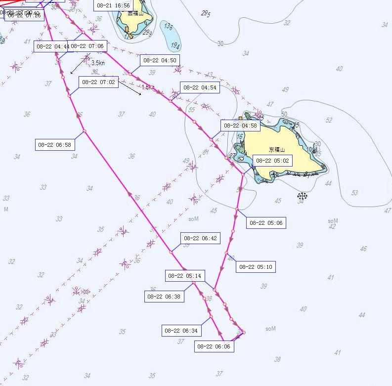 中国渔政33126船今天上午的轨迹图