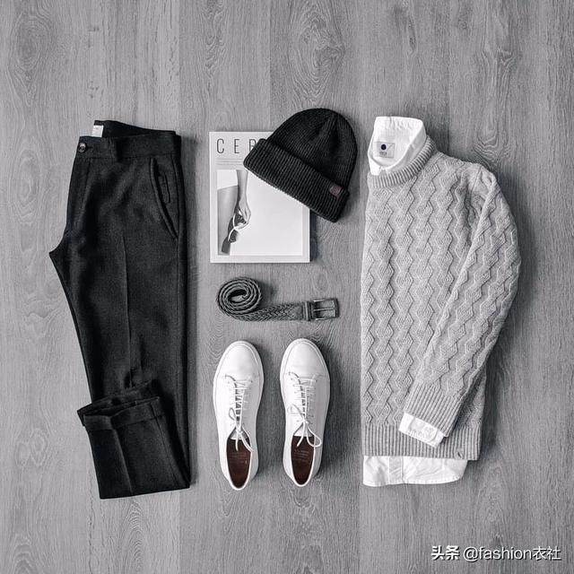 毛衣衬衫+针织帽,好看又潮流