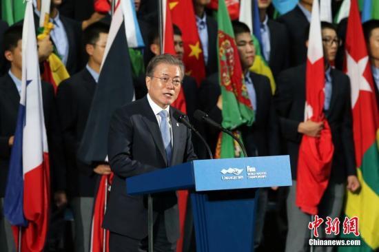资料图:韩国总统文在寅。中新社记者 韩海丹 摄