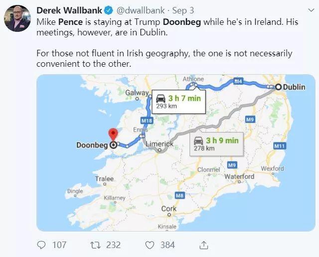 ▲图为美国媒体人吐槽说彭斯居住的地方,与爱尔兰首都都柏林完全反方向,只会给爱尔兰方面增添许多麻烦