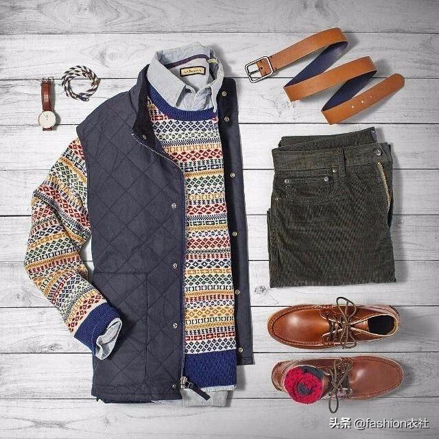夹克+花纹毛衣,想不潮流都难