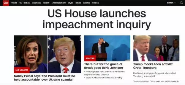 美国众议院议长宣布:正式启动弹劾特朗普调查