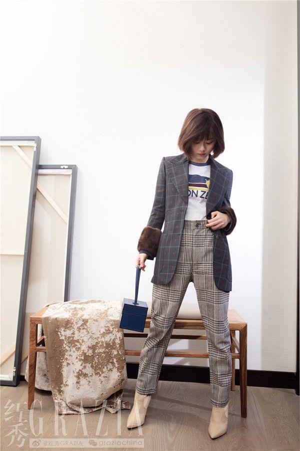 谭松韵,时尚少女范,恣意优雅诠释多样风格,给我们示范潮流穿搭