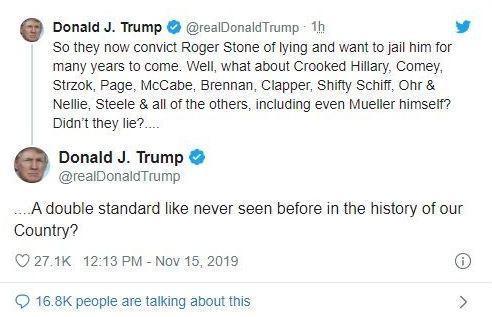 """当地时间11月15日,特朗普发推文抨击有关罗杰·斯通的裁决,称其为""""双重标准""""的受害者。特朗普图片来源:特朗普社交媒体账号截图。"""