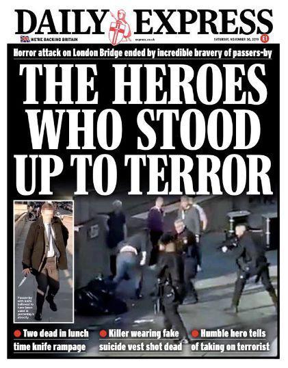 英国《每日快报》头版赞扬见义勇为的市民是英雄。/《每日快报》推特发布
