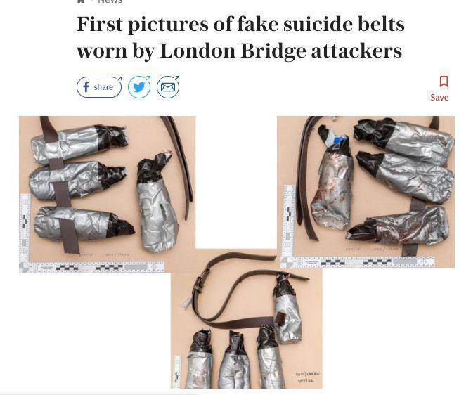 英国《电讯报》公布2017年伦敦桥恐袭嫌疑人携带的假自杀式爆炸设备。/《电讯报》网站截图