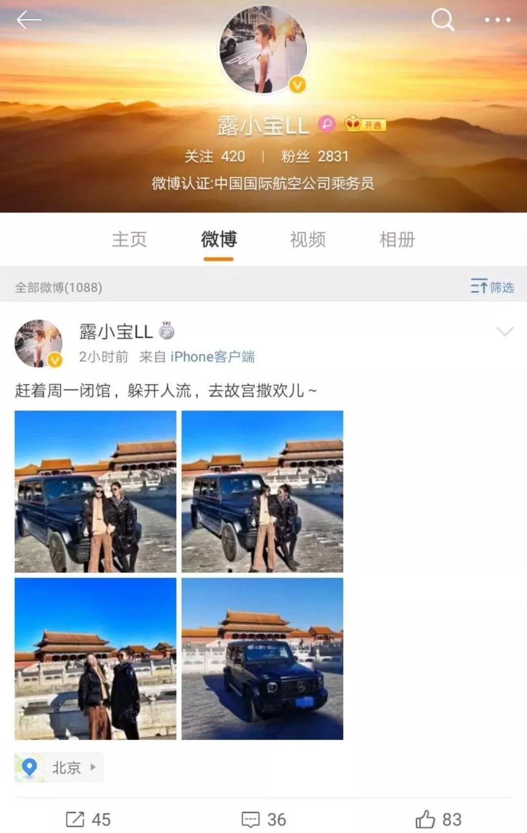 女子炫耀开大奔进故宫后 删光所有微博