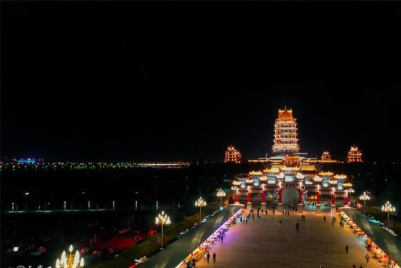 航拍宁夏——月明青铜峡,光耀黄河楼