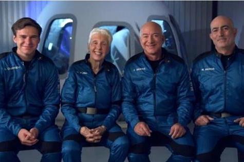 世界首富贝索斯进入太空,历史上最特别的两位宇航员,与他同行