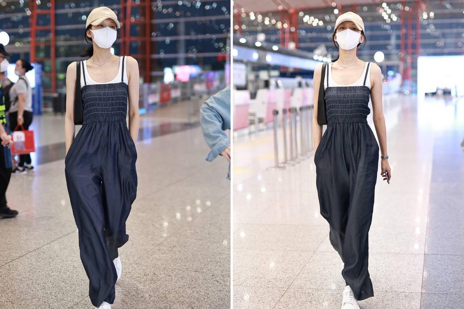 孙怡瘦过了吧?机场一袭吊带连体裤腰细腿长,但失去了女性曲线美