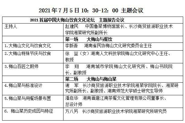 中国大梅山饮食文化论坛暨大梅山餐饮菜品标准发布会将在长沙举行