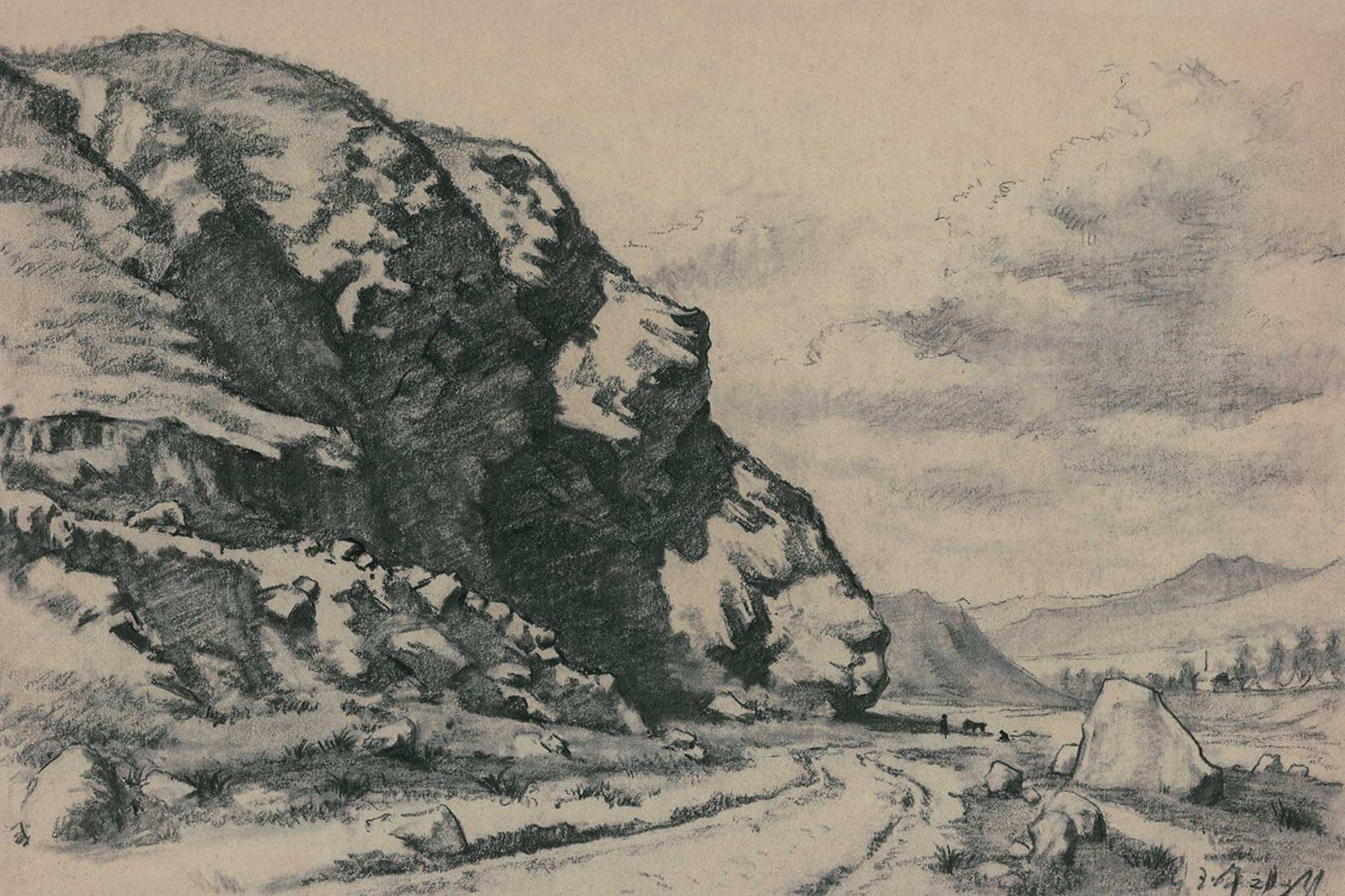 50年代靳尚谊在兰新铁路乌鞘岭工地上的速写