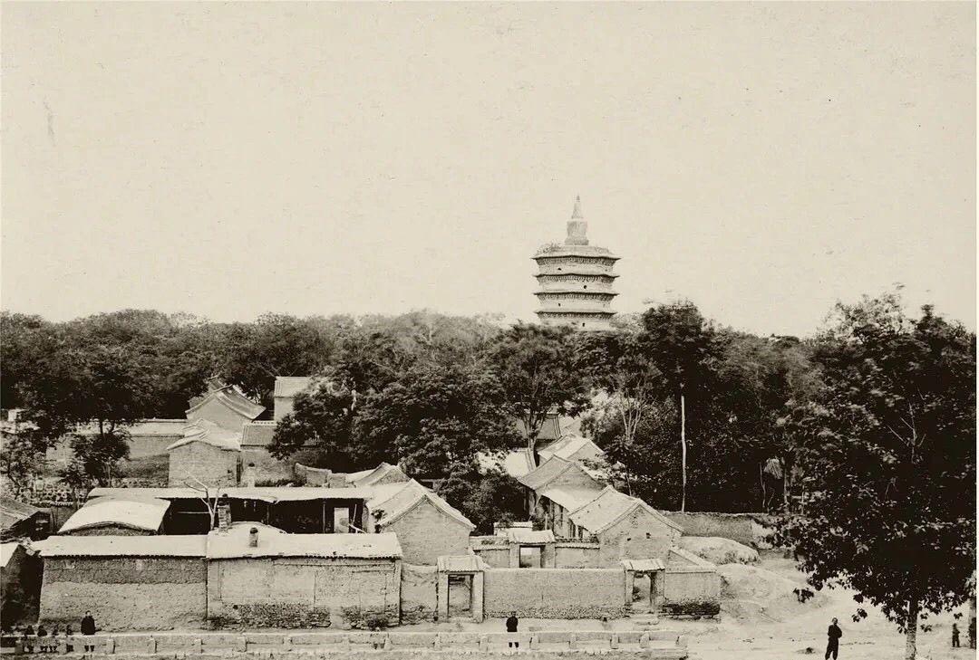 1909年河南彰德府(安阳)老照片:文峰塔、钟楼、鼓楼