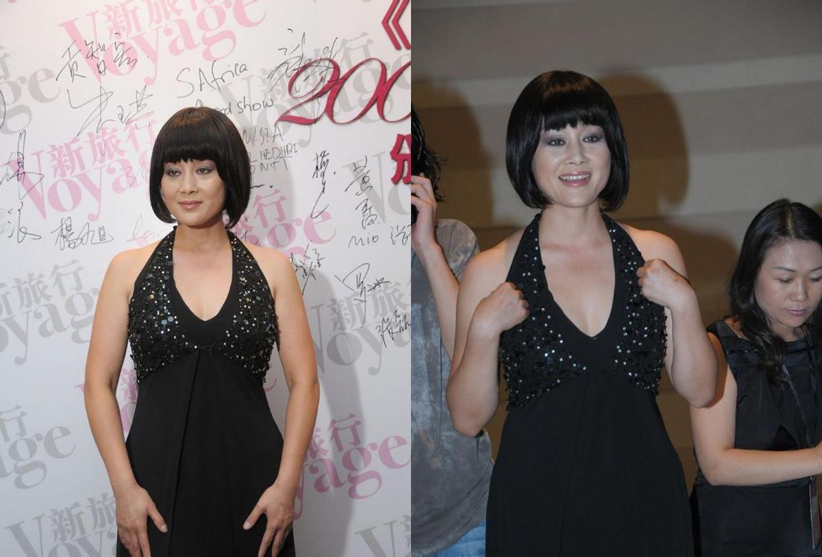 王姬六十岁了还穿挂脖裙,身材真让人心动,就是显得肩膀有点厚