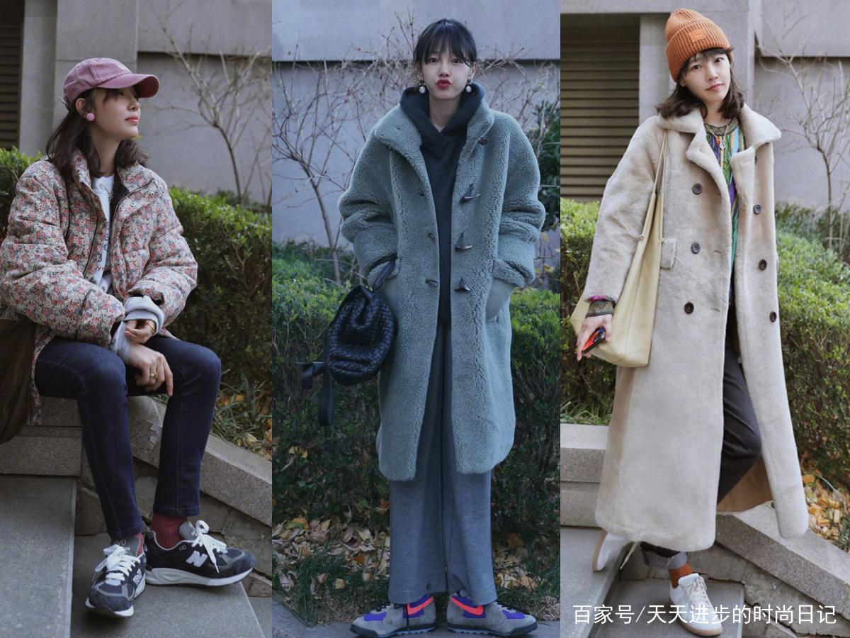 白百何穿衣真高级,灰色毛绒大衣配针织阔腿裤,优雅时尚有气场