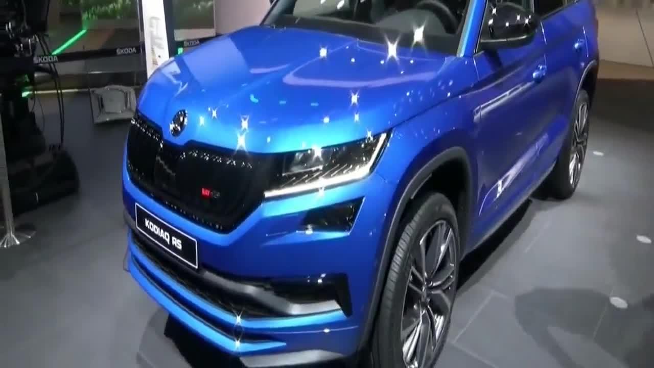 视频:新款斯柯达柯迪亚克RS,蓝色外拐很是好看,看着就清新