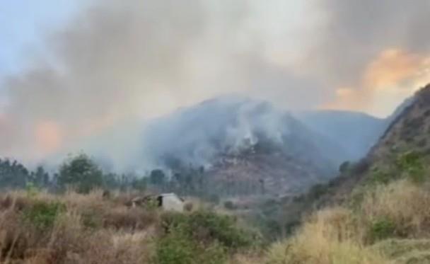 云南:大理白族自治州大理市大沙坝山当日近中午发生森林火灾