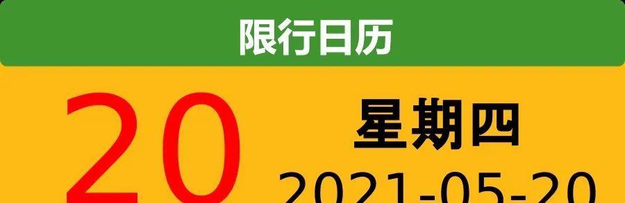【限号通知】2021-05-20星期四
