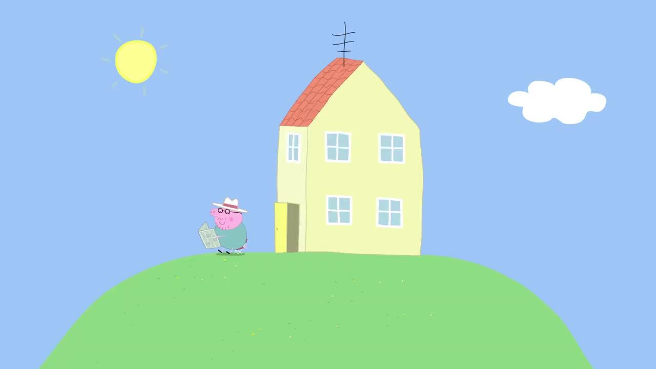 小猪佩奇:乔治的种子好大啊,长出来的向日葵,比房子还高呢!
