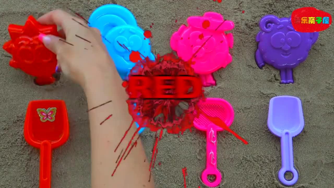 玩沙子制作沙子小兔子,趣味亲子游戏益智认颜色