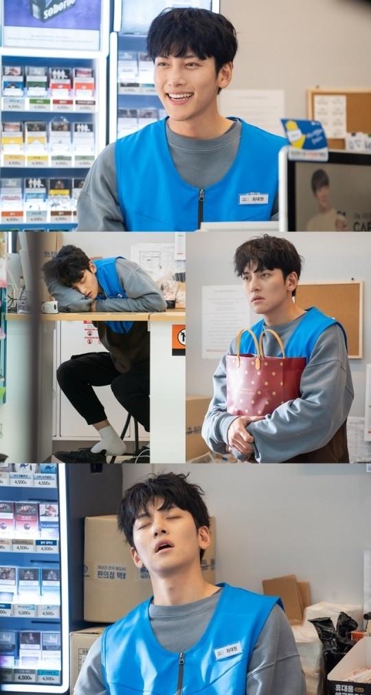 池昌旭在新电视剧《便利店新星》中变身为店长 张嘴睡觉的样子