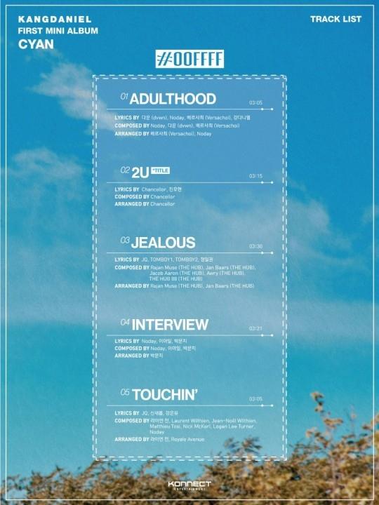 姜丹尼尔公开首张迷你专辑《CYAN》名单 主打歌《2U》