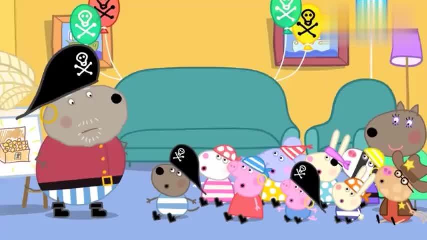 小猪佩奇:花园里有宝藏,狗爷爷带孩子们寻找,猪爷爷在此地看守