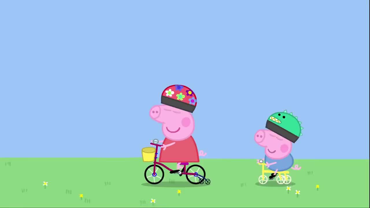 小猪佩奇:佩奇摘掉护轮,猪爸保护佩奇,佩奇学会骑自行车了