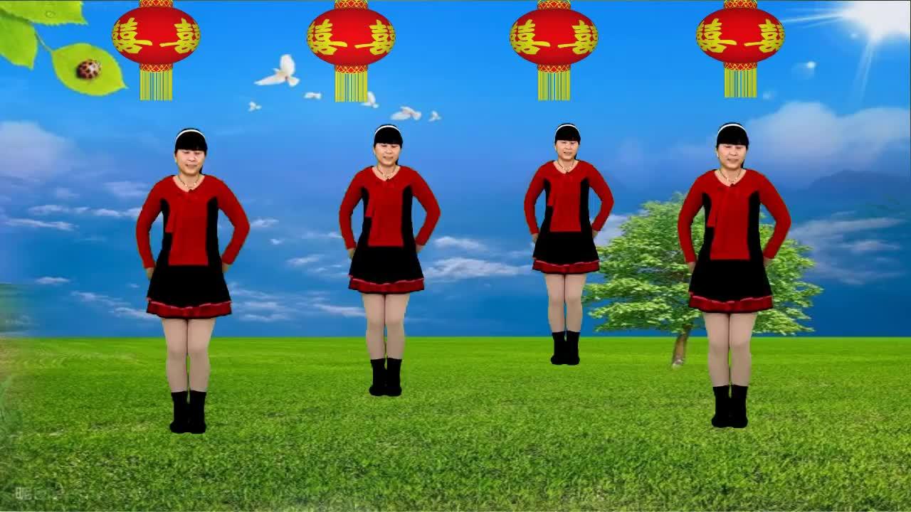 喜庆广场舞《吉祥如意过新年》歌声优美动听,简单又好看