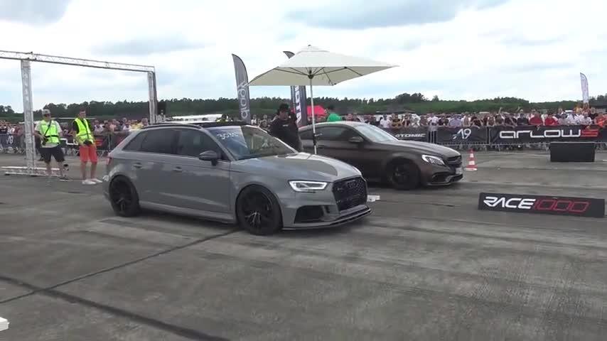 视频:奥迪RS3和高尔夫R加速比赛,声浪太霸气了!