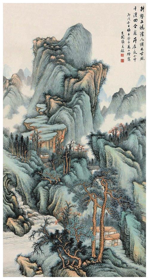 运宋人丘壑,画可居可游山水,张石园绘《万山烟霭》