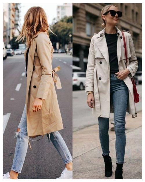 风衣穿搭时尚,搭配牛仔裤更绝,日常方便有范!
