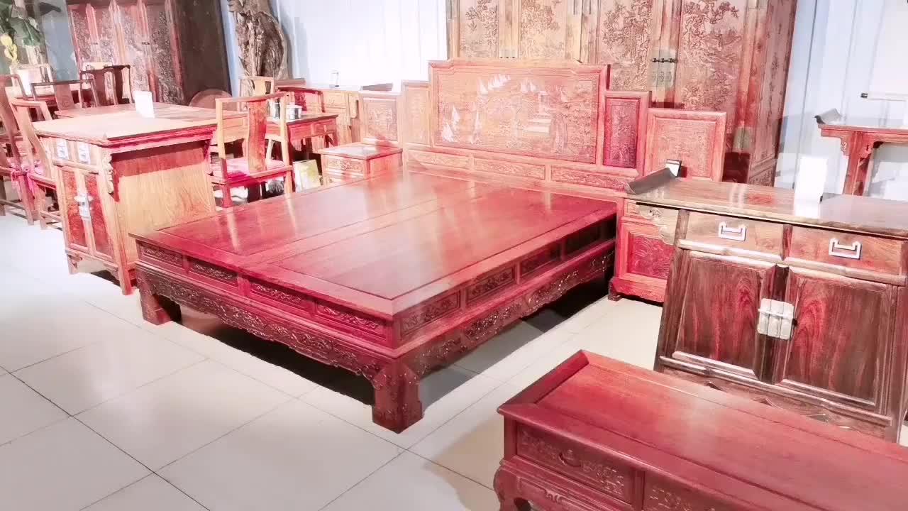 大果紫檀双人床 婚床 原木纹红木大床