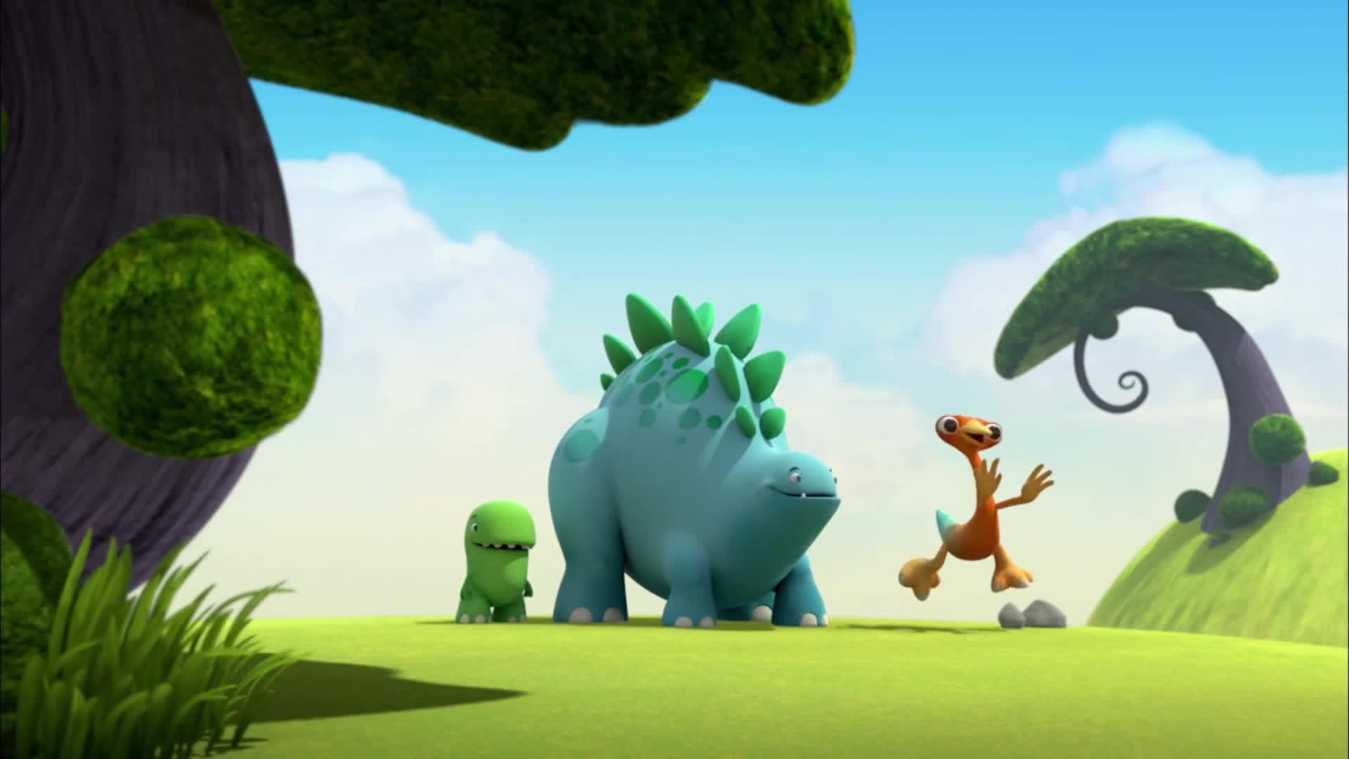 恐龙乐园:恐龙们发现个好地方,这个山谷有回声,大家可以玩啦