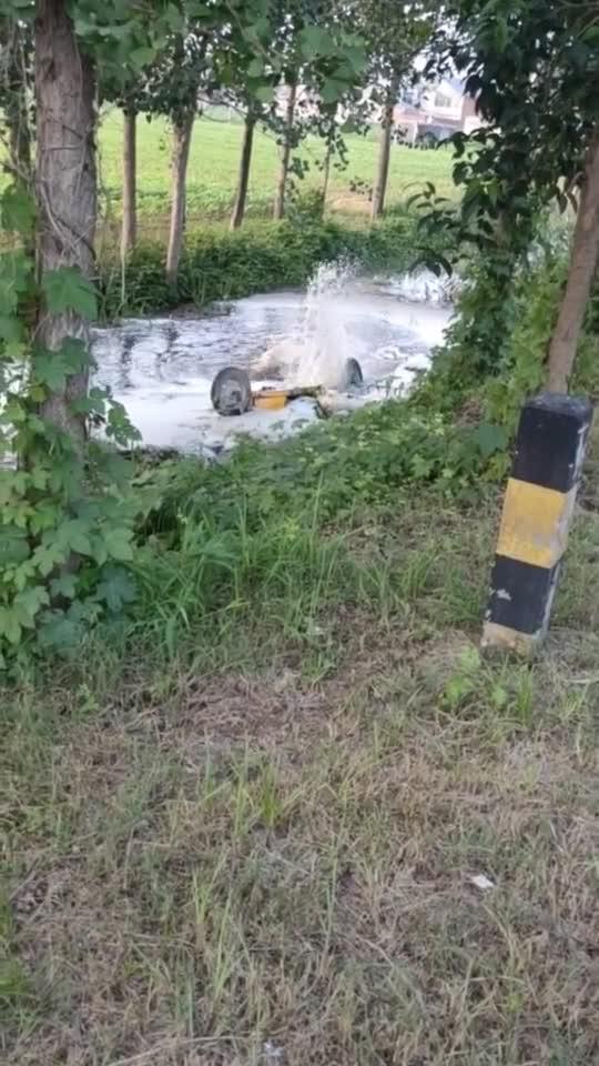 撞车掉进河里了,轮胎还在做最后的挣扎!