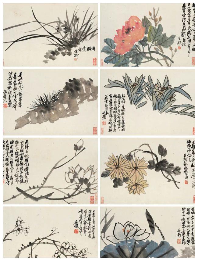 画家吴昌硕花卉册:笔随意转,状物传神