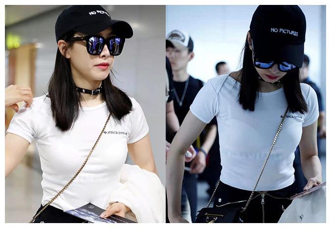 """宋茜在机场凹造型,脖子上戴黑色项圈引发热议,网友:""""没看懂"""""""