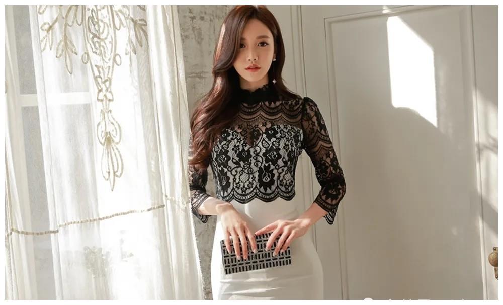 孙允珠:黑色蕾丝花纹上衣搭配白嫩包裙