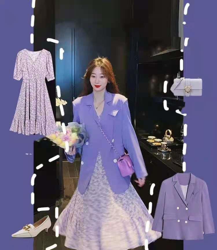 淡紫碎花连衣裙和香芋紫西服,紫色系衣服高级,这样搭显白又显高