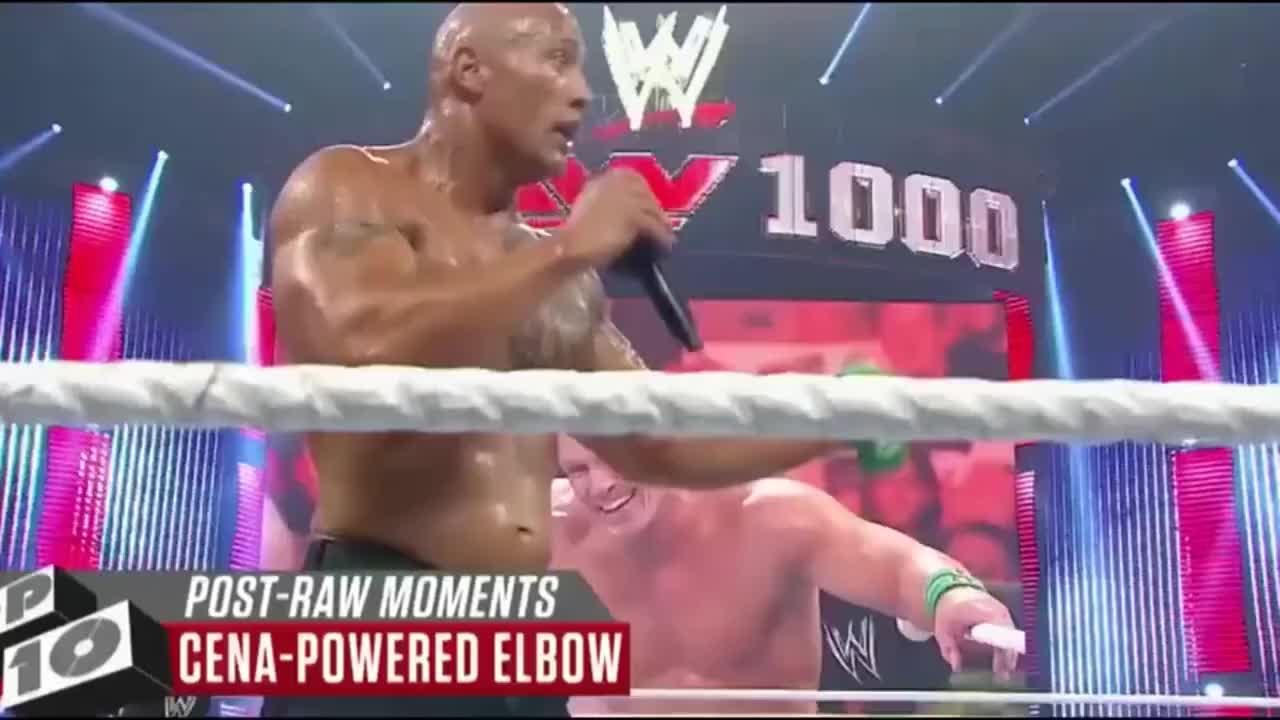 WWE:巨石强森太会玩了,用约翰塞纳的绝招KO了大秀哥!