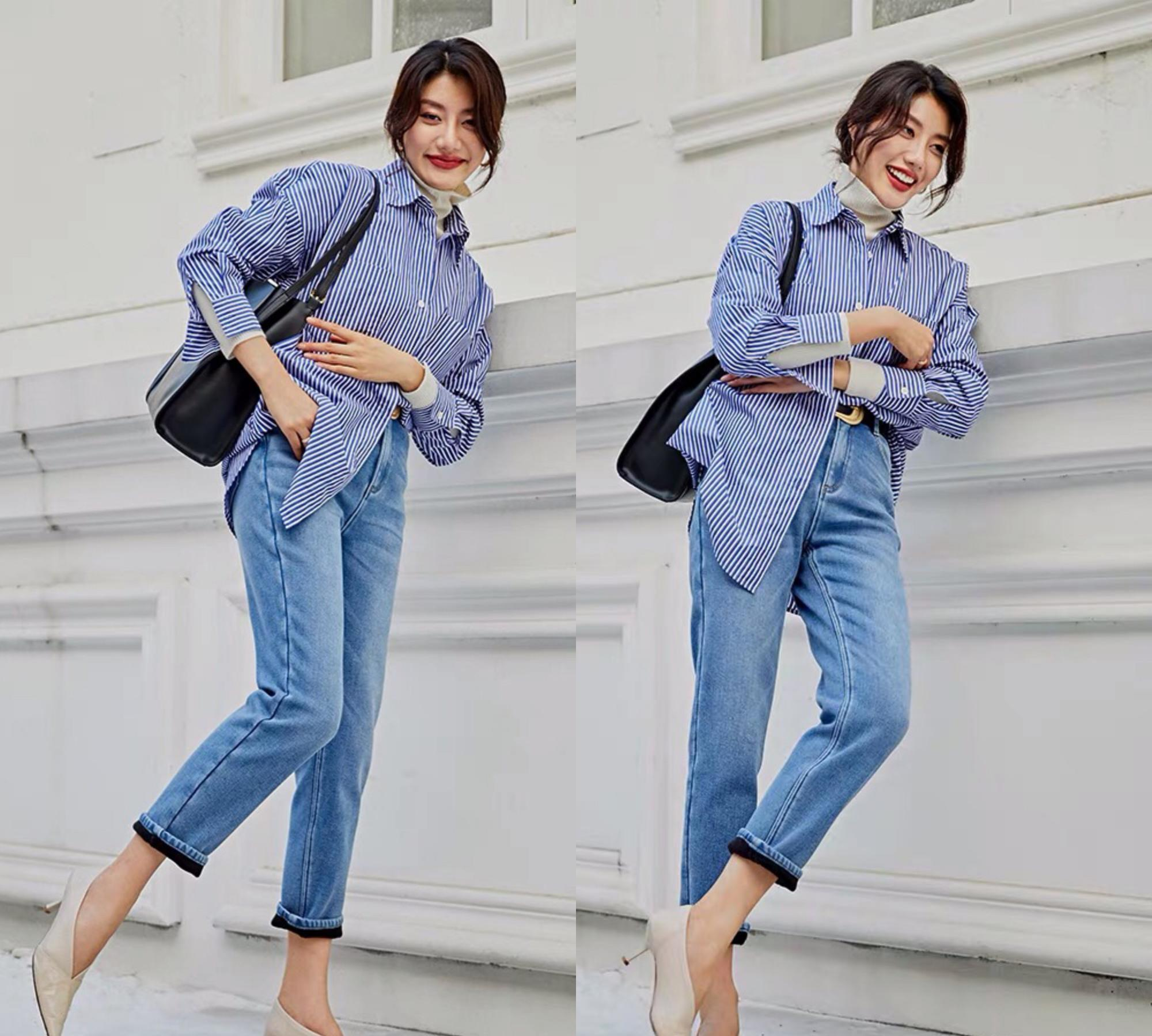 牛仔裤+高跟鞋有女人味,显高、显气质