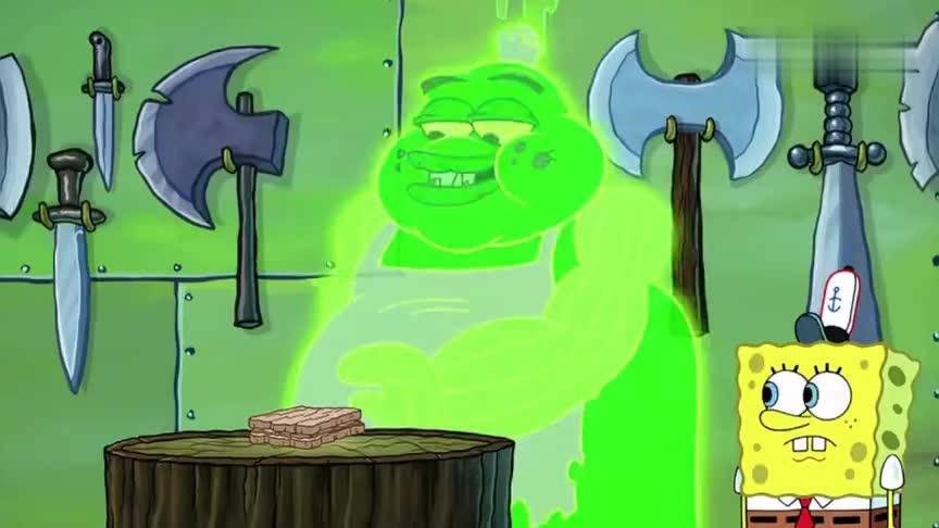 海绵宝宝和精灵学做木质三明治,咬一口牙齿直接崩裂!