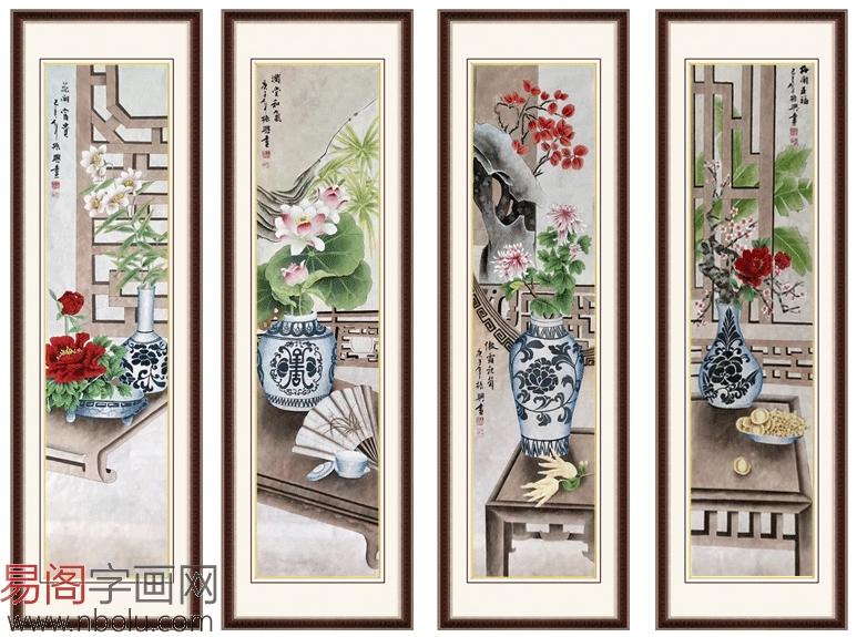走廊尽头挂画选什么 画家王振兴工笔花鸟画四条屏很不错。