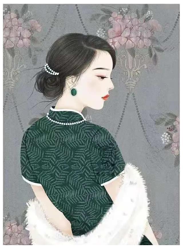 复古民国风手绘头像壁纸,优雅的旗袍女子,跃然纸上着实让人着迷