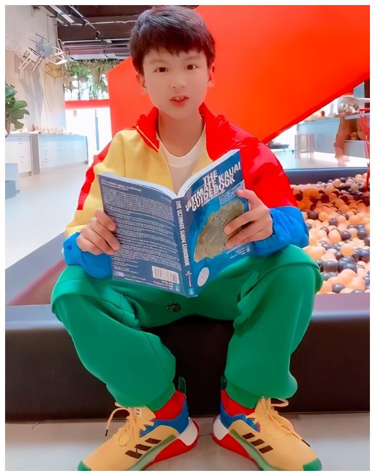 田亮儿子长大了,白白净净帅小伙,8岁能看英文原版书,让人佩服