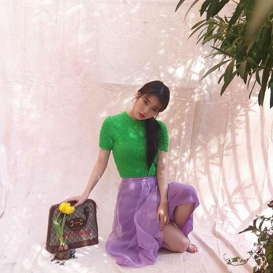 IU带着郁金香清爽的写真摄影过于美丽的视觉