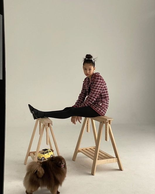 BLACKPINK金智妮和爱犬一起拍摄写真 可爱&优雅的氛围
