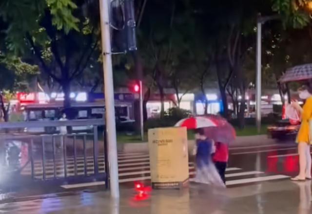 广东一男子下雨天顶纸箱突然站起过街,路边姑娘被吓一跳