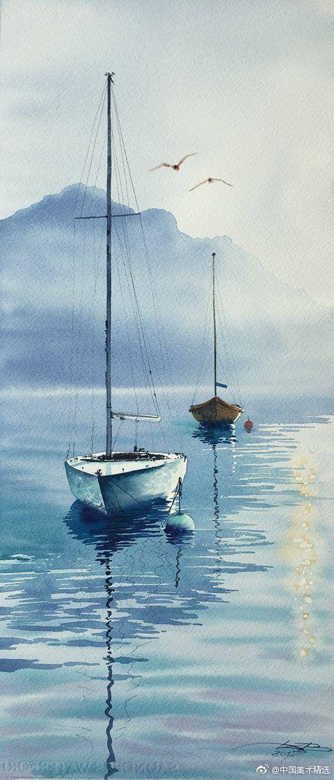 油画和水彩画中的帆船